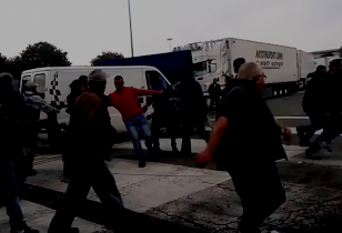 Delivery van driving into a crowd, 14 workers jumping and running away